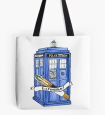11th Doctor's Tardis, Sonic, and Saying Tote Bag