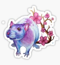 'Blossom Rat' - Watercolor Artwork Sticker