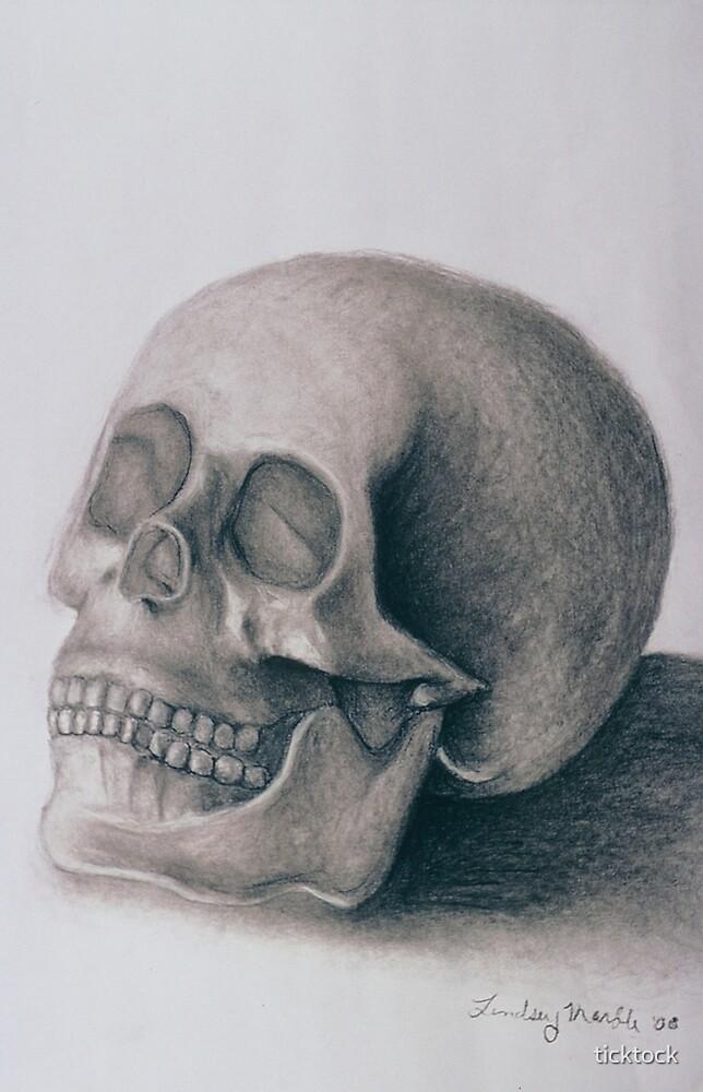 Charcoal skull study by ticktock