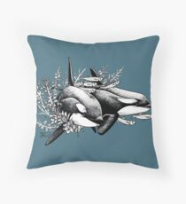 Orcas of Norway Throw Pillow