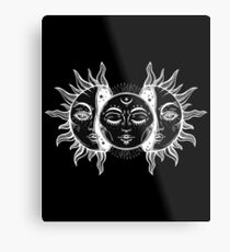 Vintage Sun and Moon Solar Eclipse Metal Print