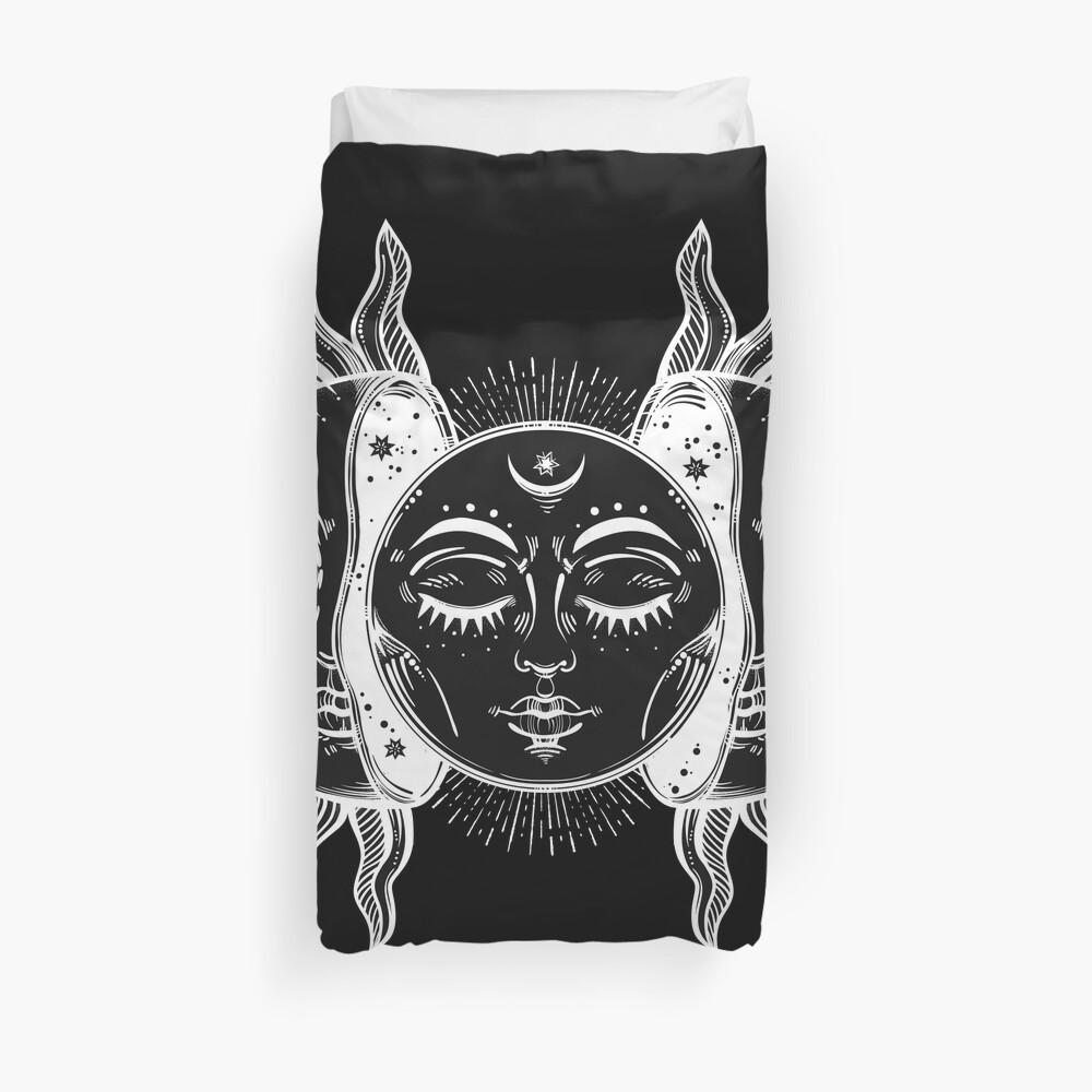 Vintage Sun and Moon Solar Eclipse Duvet Cover