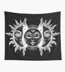 Vintage Sun and Moon Solar Eclipse Wall Tapestry