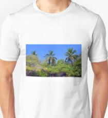 Luxurious vegetation with palm trees on an island in Maldives Unisex T-Shirt