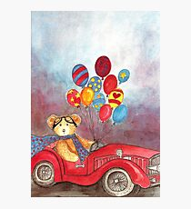 TEDDYBEAR IN RED OLDTIMER SPORTS-CAR WITH BALLOONS - Watercolour-Design Photographic Print