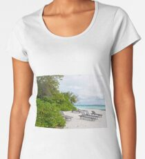 Relaxing chairs on the beach in Maldives Women's Premium T-Shirt