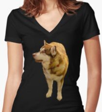 Malamute 01 Women's Fitted V-Neck T-Shirt