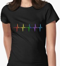 Rainbow Pulse Hearbeat LGBT Fitted T-Shirt