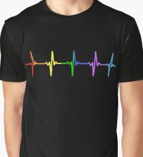 Rainbow Pulse Hearbeat LGBT Graphic T-Shirt