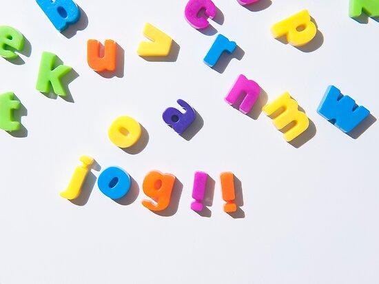 fridge magnet letters spell jog