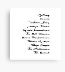 Arya Stark List Canvas Print