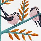 Happy Long-Tailed Tits by SleepyDogDesign