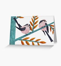 Happy Long-Tailed Tits Greeting Card