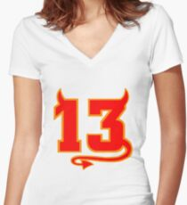 Lucky Devil 13  Women's Fitted V-Neck T-Shirt