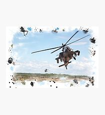 Apache messy digital watercolour Photographic Print
