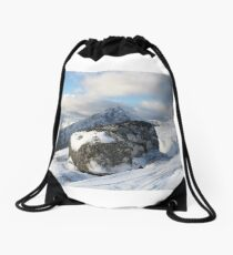 Boulder and Buachaille Etive Mhor, Glencoe, Lochaber , Scotland Drawstring Bag