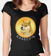 Dogecoin T-shirt Funny Dog Meme Coin Crypto Currency Doge Women's Fitted Scoop T-Shirt