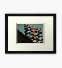St. James Theater - Bullets Over Broadway Musical Neon Sign - Kodachrome Postcards  Framed Print