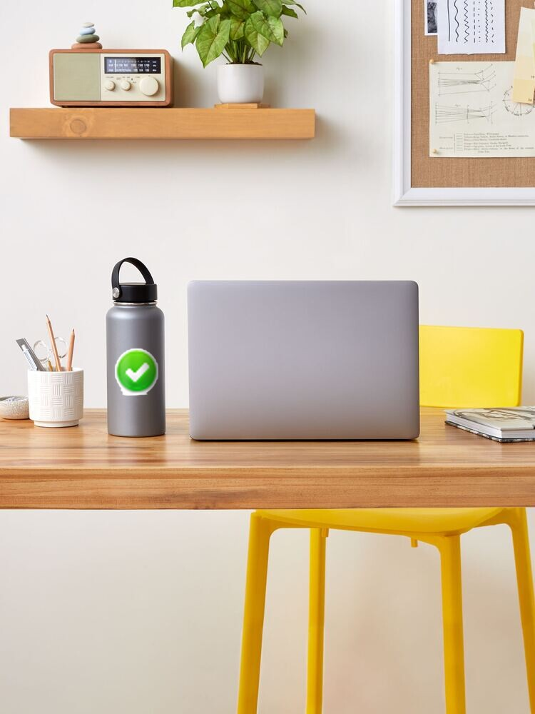 Green Circle with white Checkmark tick, symbol, sign | Sticker