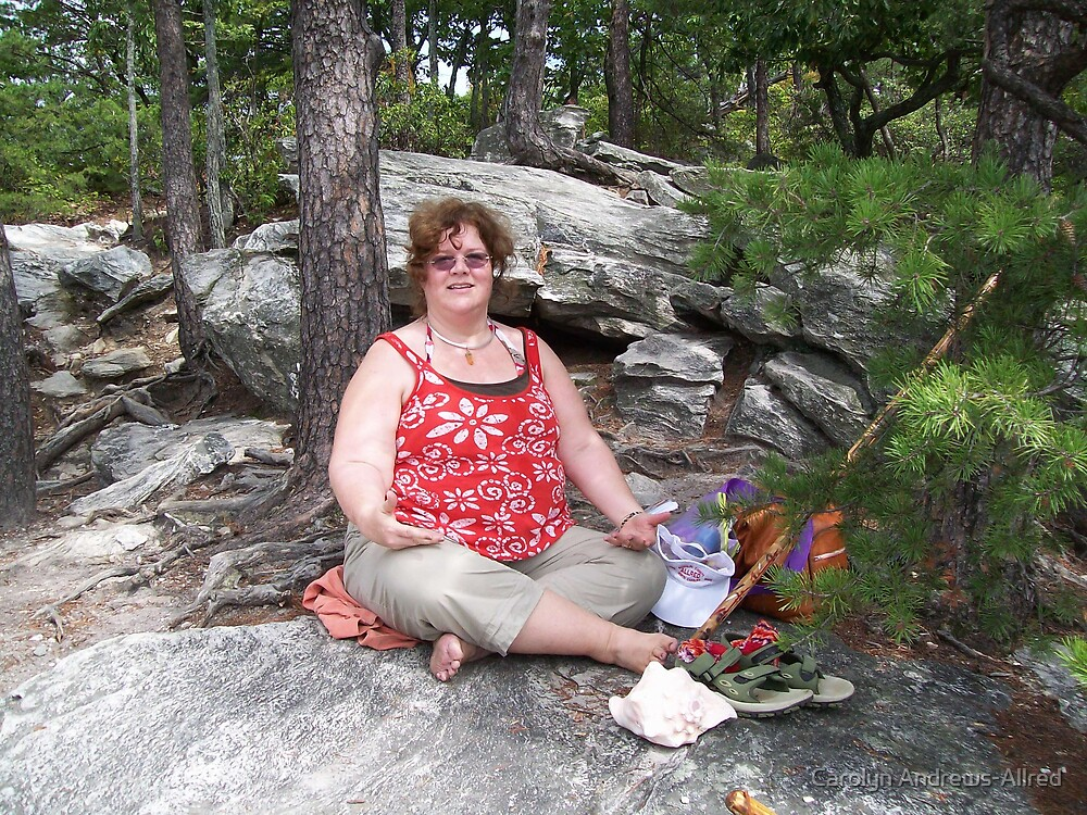RED SOLAR EARTH ON HANGING ROCK by Carolyn Andrews-Allred