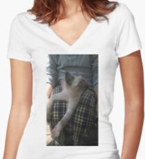 Lap Cat Women's Fitted V-Neck T-Shirt