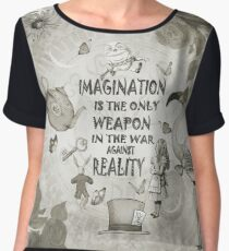 Alice In Wonderland - Imagination - Vintage Black & White Chiffon Top