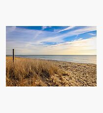 Peaceful Sandy Beach With Cloud Streaked Sky Photographic Print