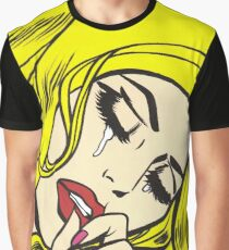 Blonde Crying Comic Girl Graphic T-Shirt
