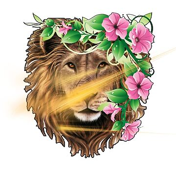 Lion and Flowers, Beauty and Power by TegCAL