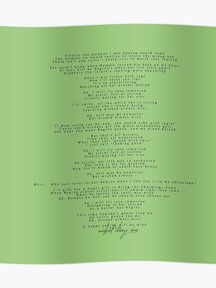 Wicked always wins lyrics | Poster