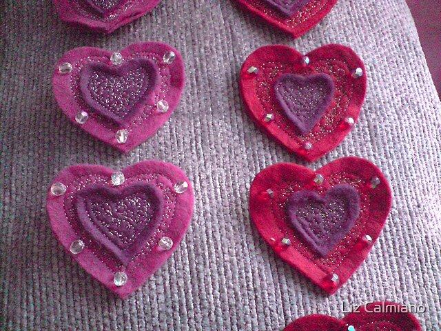 Felt heart brooches by Liz Calmiano