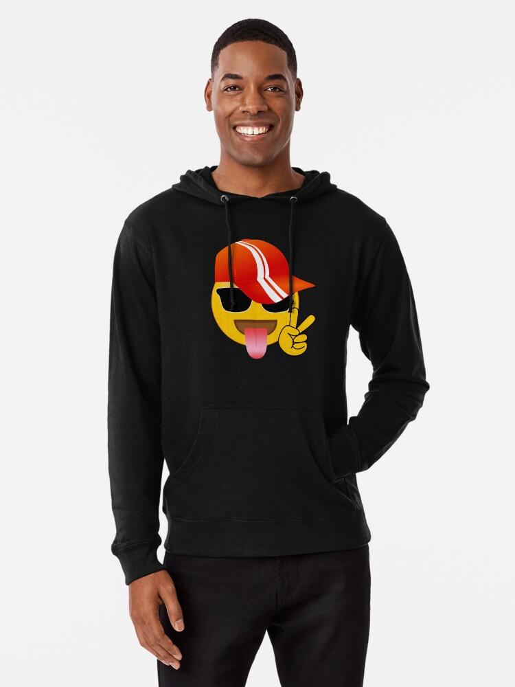 'Cool Emoji Peace Sign Baseball Cap' Lightweight Hoodie by customshirtgirl