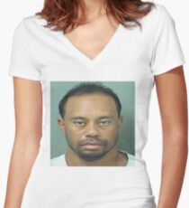 Tiger Woods Mugshot Women's Fitted V-Neck T-Shirt