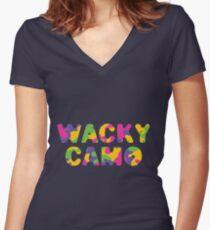 Wacky Camo #1 Women's Fitted V-Neck T-Shirt