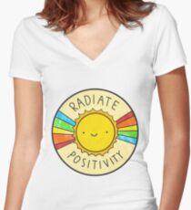 Radiate Positivity Women's Fitted V-Neck T-Shirt