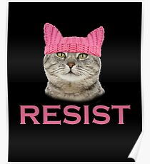 Resist Persist Pussy Cat Hat Women's March Poster