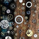 Tiny watch parts on a wooden background by Sharonroseart