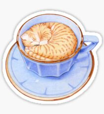 Cat in Coffee T-shirt Sticker