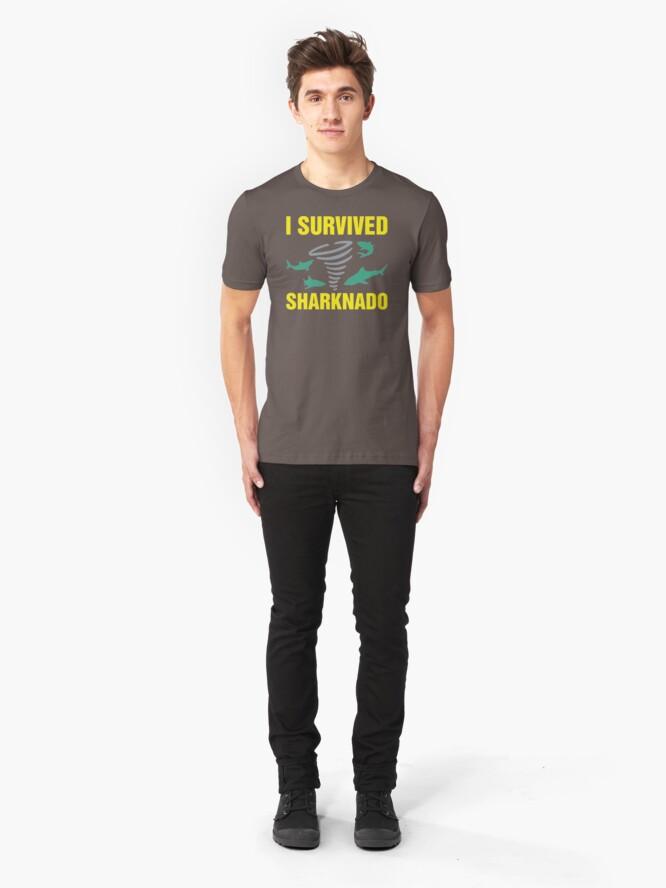 Alternate view of I Survived Sharknado SI98 Trending Slim Fit T-Shirt
