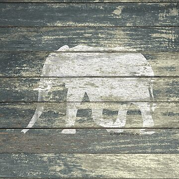 White Elephant on Teal Wood A215C by byNicol