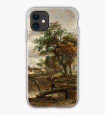 Meindert Hobbema - Landscape with a Footbridge iPhone Case