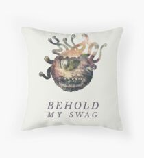 Behold My Swag - Beholder DnD / D&D / Dungeons and Dragons Typography Art Throw Pillow