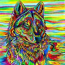 Colorful Psychedelic Rainbow Wolf by Rebecca Wang