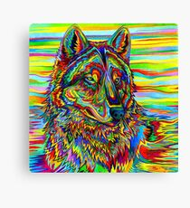 Colorful Psychedelic Rainbow Wolf Canvas Print
