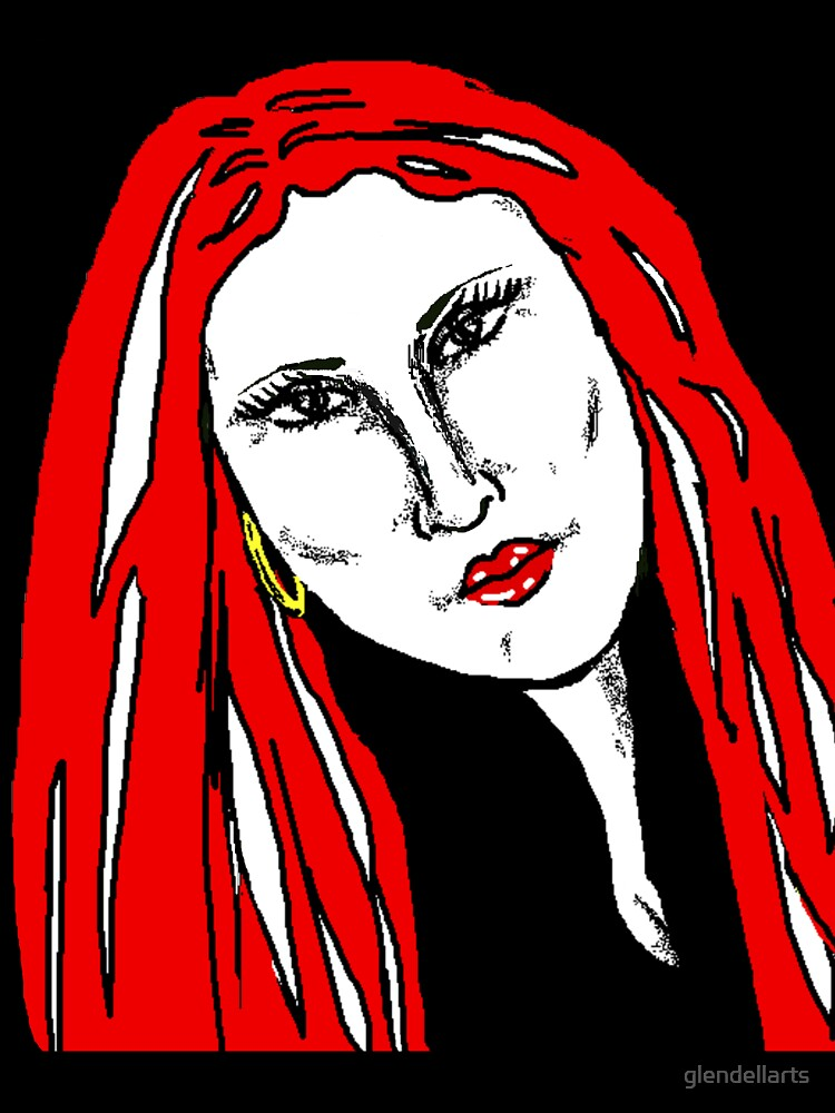 Beautiful Woman Red For Love by glendellarts