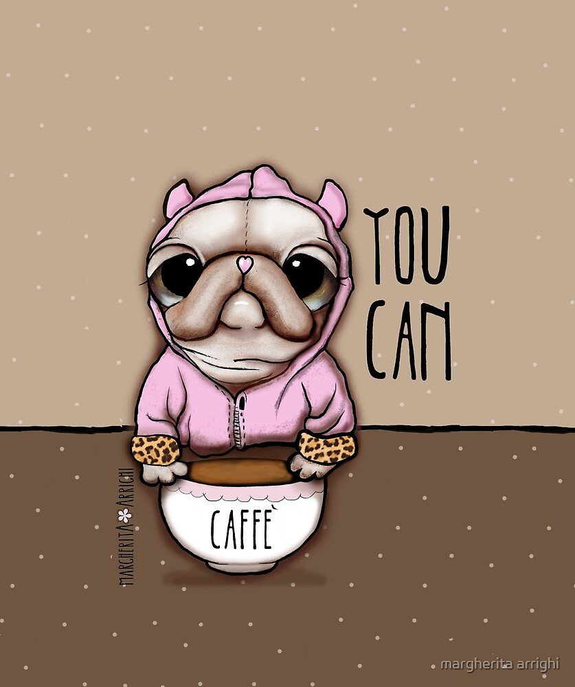 The Pug or French Bulldog with coffee, art by Margherita Arrighi by margherita arrighi