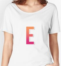 The Letter E Typography Sticker Women's Relaxed Fit T-Shirt