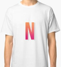 The Letter N Typography Sticker Classic T-Shirt