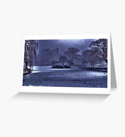 Snow in Boston Garden Greeting Card