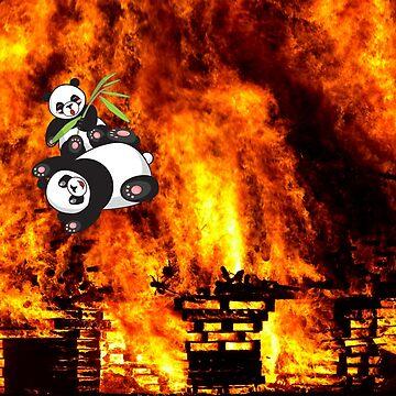 happy pandas in fire by happymigrane